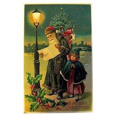 "German 1908 Christmas Postcard — Santa Claus & Child, List of ""Good & Naughty Children"""
