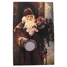 Tuck Oilette Classic Santa Claus Postcard — Brown Robe & Cap, Toys