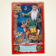 Gorgeous Excellent GEL Green Suited Santa Claus & Deer Postcard