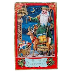 Gorgeous Excellent GEL Green Suited Santa Claus & Deer Postcard