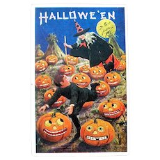 Super Bernardt Wall Halloween Postcard - Scary JOL Pumpkin Patch, Witch, Boy