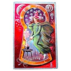 Nash Keyhole Halloween Postcard Series No. 3 - Witch, Halloween Symbols