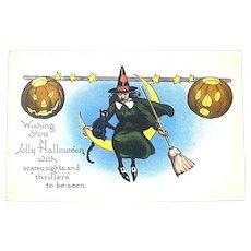 Unused Halloween 20's Postcard - Witch, Crescent Moon, JOLs, Cat