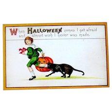 Halloween Postcard - Unused, Boy, JOL, Black Cat - SALE