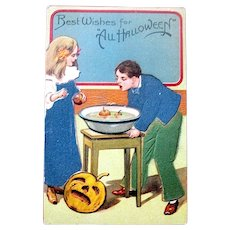 German Halloween Postcard - Party Game, Foil, Felt Clothes