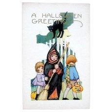 Whitney Unused Halloween Postcard - Girls, Boy, Black Cat ~ MINT