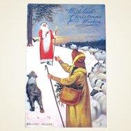 Tuck Oilette Santa/St. Nicholas Postcard, Shepherd, Sheep, Sheepdog