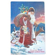 Very Rare Fully Hand Painted  German Santa Claus Postcard
