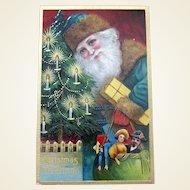 Beautiful Santa Claus Antique Postcard — Close-up, Wearing Green, Leaving Gifts