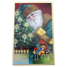 Beautiful Santa Claus Antique Postcard — Close-up, Wearing Green, Leaving Gifts