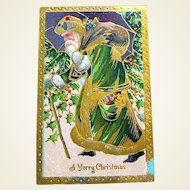Old World Santa Claus 1916 Postcard, Heavy Gold Decoration