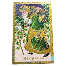 Old World Santa Claus 1916 Postcard, Heavy Gold Decoration