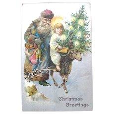 1908 Christmas Postcard — Slavic Santa Claus, Christ Child, Sheep