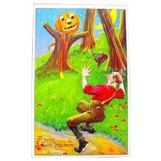 "Halloween Postcard - ""Busy Jack O'Lantern"" Terrifies Man - MINT"