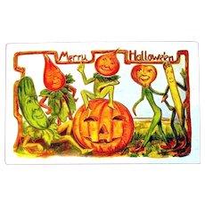 "1909 ""Merry Halloween"" Postcard - Vegetable Characters, JOL,Gold"