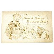 Unused Halloween 1910 Sepia Postcard - Boy, Goblins, Imps, Rat