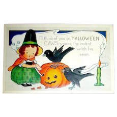 Whitney Halloween Postcard, Unused,Cute Witch & Crows