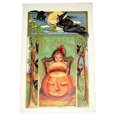 Super Halloween Postcard - Girl, JOL, Black Cats, Witch - Gold