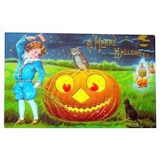 Antique Halloween Postcard - Huge Smiling JOL, Boy w Flag, Cat, Fires, Cauldrons