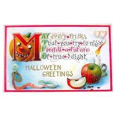1911 Halloween Postcard - Scary JOL Superstition