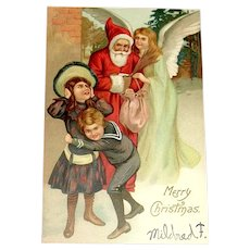 Santa Claus UDB Postcard - Angel, Girl, Naughty Boy