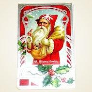 Beautiful German Santa Claus Postcard - Red on Silver Graphics