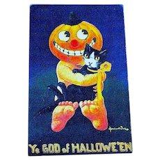 Bernardt Wall Ullman Halloween Postcard - Smiling Baby JOL, Pet Cat
