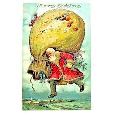 Great 1908 Christmas Postcard — Sky High Santa, Ripped Sack, Gold