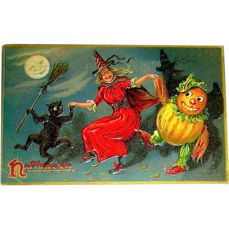 TUCK 150 Series Halloween Postcard — Witch, Black Cat & Veggie Man Dancing