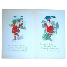 Two Gibson Art Co. Unused Santa Claus Postcards