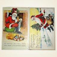 Pair of 1916 Santa Claus Postcards with Sacks of Toys, Same Series