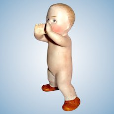 "Gebruder Heubach All Bisque Antique ""Action Baby"" Figure / Doll"