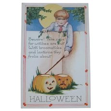 Unused Whitney Halloween Postcard - Boy, JOL's, Witch - Free Shipping