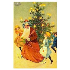 French Santa Claus Postcard - Raphael Kirchner Paris - Unused