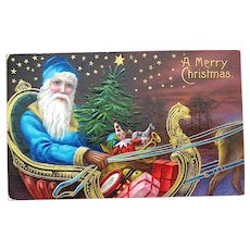 Santa Claus in Sleigh Above the Earth - Blue Robe - 1909 Postcard