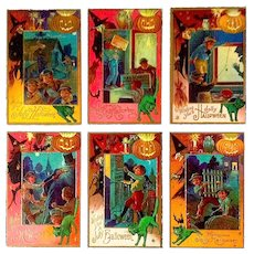 Rare Nash Halloween Antique Postcards Set - Witch, Green Cats, Pranksters