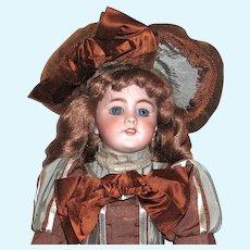 Gorgeous Jumeau DEP Doll, Original Body, Vintage French Dress & Bonnet