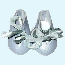 Pretty Light Bluish Gray Doll Shoes w Blue Satin Ties