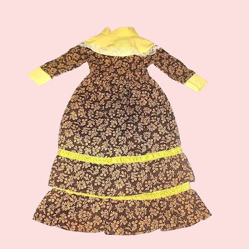 "Vintage 30's Brown Floral Calico & Canary Yellow 13"" Long Doll Dress"