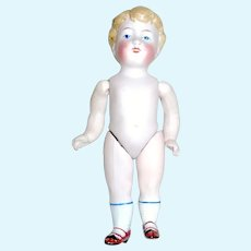 """Scarce Kestner 4 3/4"""" All Bisque Jointed Boy Doll, """"166"""" Mold, Book Piece"""