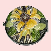 Perfect Jay Strongwater Molded Flower & Bee Compact, Enamel, Swarovski Crystals