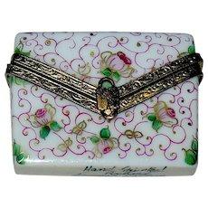 Vintage Rochard Limoges Envelope w Love Letter Hand Painted Trinket box