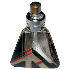 Karl Palda Art Deco Red, Black and Clear Decorated Perfume Bottle Atomizer