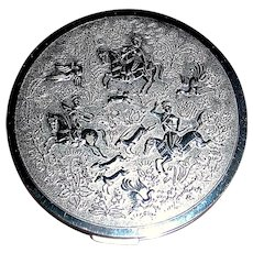 Beautiful Silver Plated 30's Compact, Ancient Persian Safari Design