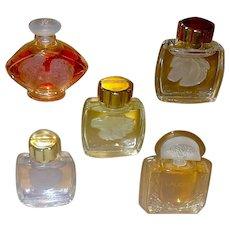 """LALIQUE Miniature Perfume Bottles """"La Collection"""" - Five - Unused"""