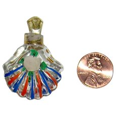 Bohemian Quarter Size Mini Perfume Bottle - Hand Painted - Exceptional - 1900