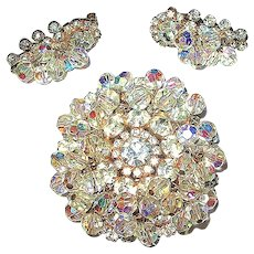 Verified Juliana / D & E Brooch and Earrings Set - Dazzling Bright - Light Up Your Night