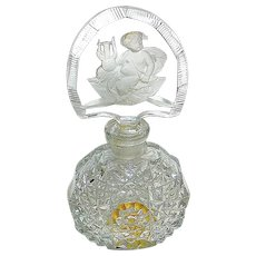 Czech Perfume Bottle w Clear & Frosted Cubby Cherub Playing Lyre Stopper