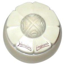 Miniature Yardley 30's Glass Boule Shaped Vanity Jar w Honey Bee Bakelite Lid