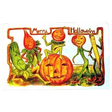 Halloween Antique Postcard - Veggie Men Celebrating, JOL, Gold